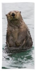 Upright Sea Otter Bath Towel by Chris Scroggins