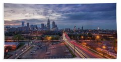 Uptown Charlotte Rush Hour Hand Towel by Serge Skiba