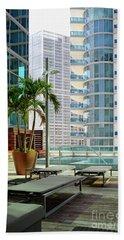 Urban Landscape, Miami, Florida Hand Towel by Craig McCausland