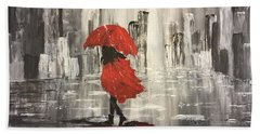 Urban Walk In The Rain Hand Towel by Lucia Grilletto