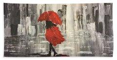 Urban Walk In The Rain Hand Towel
