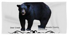 Ursus Americanus - Color Bear Black Text Bath Towel
