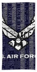 Us Air Force Logo Recycled Vintage License Plate Art Hand Towel