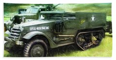 Hand Towel featuring the painting U.s. Army Halftrack by Michael Cleere