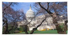 Us Capitol Building And Cherry Hand Towel by Panoramic Images
