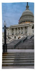 Bath Towel featuring the photograph Us Capitol Building Twilight by Susan Candelario