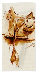 Us Cavalry Saddle 1869 Bath Towel by Padre Art