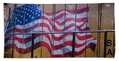 Us Flag On Side Of Freight Engine Bath Towel