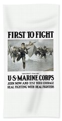 Us Marine Corps - First To Fight  Hand Towel