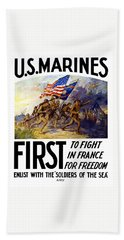 Us Marines - First To Fight In France Bath Towel