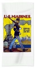 U.s. Marines - Service On Land And Sea Hand Towel