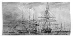 U.s. Naval Fleet During The Civil War Hand Towel