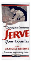 Us Naval Reserve Serve Your Country Hand Towel