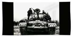 U.s. Troops With Korean Tank 1951 Bath Towel