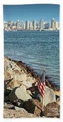 Usa Flag And San Diego Skyline Bath Towel