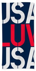 Usa Luv Blue White Red Hand Towel
