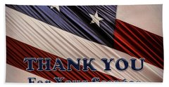 Bath Towel featuring the photograph Usa Military Veterans Patriotic Flag Thank You by Shelley Neff
