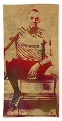 Usain Bolt Sprinter Jamaica Olympics Watercolor Portrait Bath Towel
