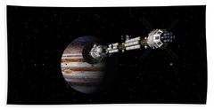 Bath Towel featuring the digital art Uss Savannah Approaching Jupiter by David Robinson