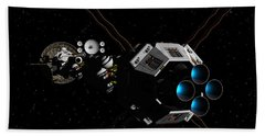 Bath Towel featuring the digital art Uss Savannah In Deep Space by David Robinson