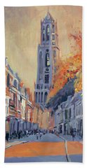 Hand Towel featuring the painting Utrecht Dom Tower by Nop Briex