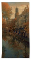 Hand Towel featuring the painting Utrecht In Autumn by Nop Briex