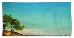 Hand Towel featuring the painting Vacanza Permanente by Maja Sokolowska