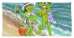 Vacation Beach Frog Girls Hand Towel
