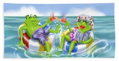 Vacation Happy Frog Couple Hand Towel
