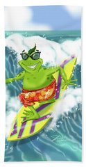 Vacation Surfing Frog Hand Towel