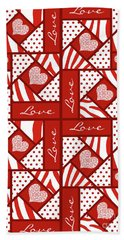 Hand Towel featuring the digital art Valentine 4 Square Quilt Block by Methune Hively