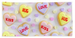 Bath Towel featuring the photograph Valentine Heart Cookies by Teri Virbickis