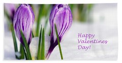 Valentines Day Crocuses Hand Towel by Sharon Talson