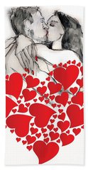 Hand Towel featuring the painting Valentine's Kiss - Valentine's Day by Carolyn Weltman