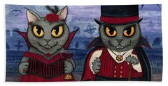Vampire Cat Couple Bath Towel by Carrie Hawks