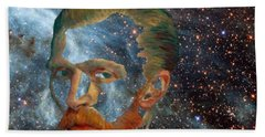 Van Gogh Art Study In Blue Bath Towel