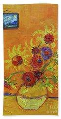 Van Gogh Starry Night Sunflowers Inspired Modern Impressionist Hand Towel