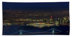 Vancouver Bc Cityscape By Lions Gate Bridge Hand Towel