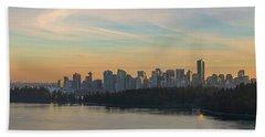 Vancouver Bc Skyline Along Stanley Park At Sunset Bath Towel