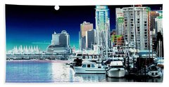 Vancouver Harbor Moonrise  Hand Towel by Will Borden