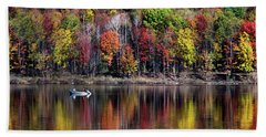 Vanishing Autumn Reflection Landscape Hand Towel by Christina Rollo