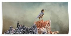 Varied Thrush On A Dead Tree Hand Towel
