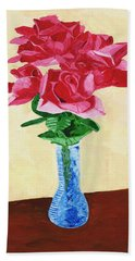 Hand Towel featuring the painting Vase Of Red Roses by Rodney Campbell