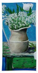 Vase On Table With Flowers Hand Towel