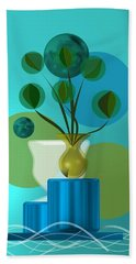 Hand Towel featuring the digital art Vase With Bouquet Over Blue by Alberto RuiZ