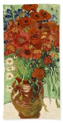 Bath Towel featuring the painting Vase With Daisies And Poppies by Van Gogh