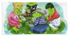 Vegas Frogs Playing Poker Bath Towel