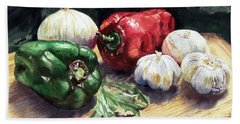 Bath Towel featuring the painting Vegetable Golly Wow by Joey Agbayani
