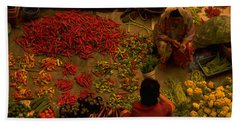 Hand Towel featuring the photograph Vegetable Market In Malaysia by Travel Pics