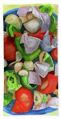 Bath Towel featuring the painting Veggies by Sandy McIntire